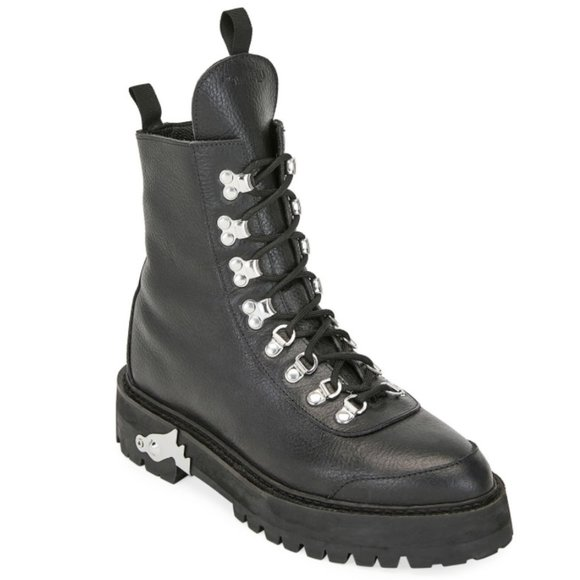 Offwhite Leather Hiking Boots